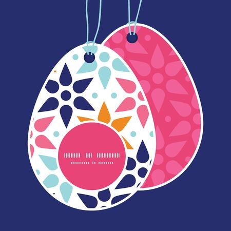 egg shaped: Vector abstract colorful stars Easter egg shaped tags set template
