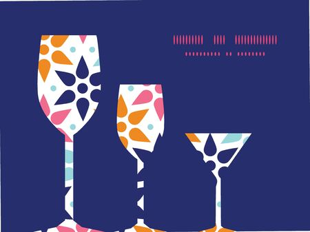 Vector abstract colorful stars three wine glasses silhouettes pattern frame Vector