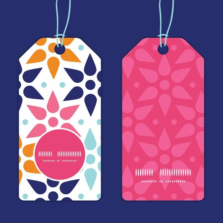 Vector abstract colorful stars vertical round frame pattern tags set Vector