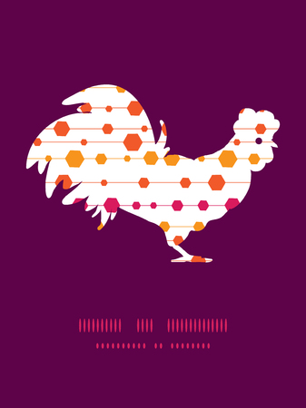 chinese astrology: Vector abstract colorful stripes and shapes rooster silhouette Easter frame Illustration
