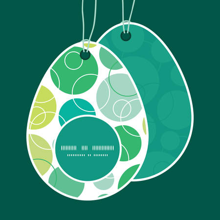 egg shaped: Vector abstract green circles Easter egg shaped tags set template Illustration