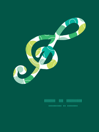 gclef: Vector abstract green circles gclef musical silhouette pattern frame