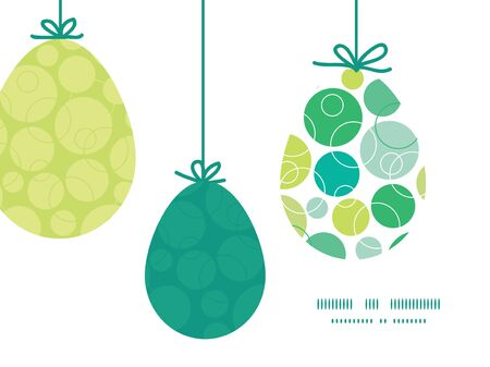 Vector abstract green circles hanging Easter eggs ornaments sillhouettes frame card template Vector