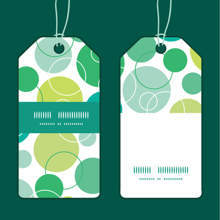 stripe: Vector abstract green circles vertical stripe frame pattern tags set Illustration