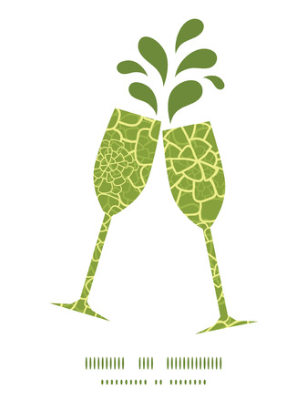 toasting wine: Vector abstract green natural texture toasting wine glasses silhouettes pattern frame