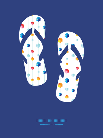 jewels: Vector abstract hanging jewels striped flip flops silhouettes pattern frame Illustration