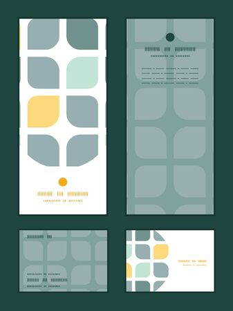 rsvp: Vector abstract gray yellow rounded squares vertical frame pattern invitation greeting, RSVP and thank you cards set Illustration