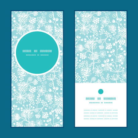 party: Vector blue and white lace garden plants vertical round frame pattern invitation greeting cards set