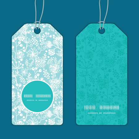 vertical garden: Vector blue and white lace garden plants vertical round frame pattern tags set