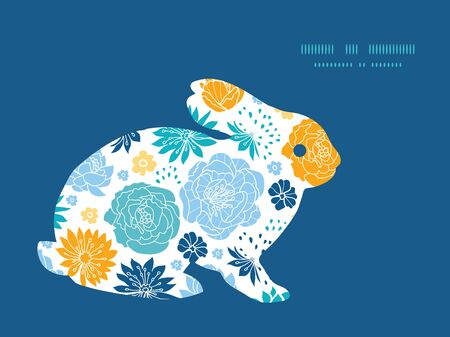 rabbit silhouette: Vector blue and yellow flowersilhouettes bunny rabbit silhouette Easter frame Illustration