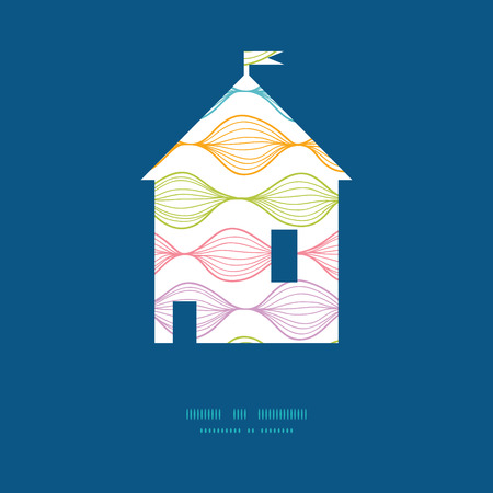Vector colorful horizontal ogee house silhouette pattern frame Ilustracja