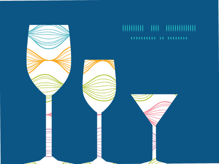 Vector colorful horizontal ogee three wine glasses silhouettes pattern frame