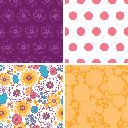 Vector colorful oriental flowers set of four marching repeat patterns backgrounds