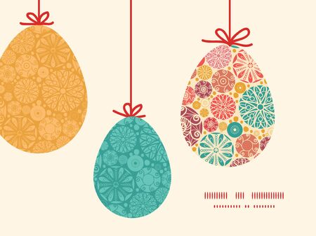 wheal: Vector abstract decorative circles hanging Easter eggs ornaments sillhouettes frame card template Illustration