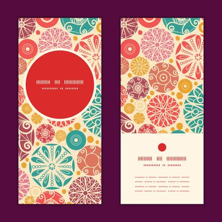 wheal: Vector abstract decorative circles vertical round frame pattern invitation greeting cards set Illustration