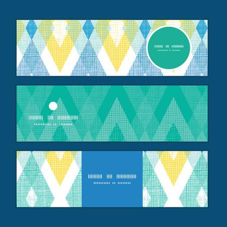 horizontal: Vector colorful fabric ikat diamond horizontal banners set pattern background