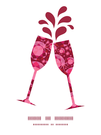 toasting wine: Vector ruby toasting wine glasses silhouettes pattern frame Illustration