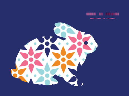rabbit silhouette: Vector abstract colorful stars bunny rabbit silhouette Easter frame Illustration