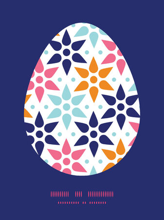 Vector abstract colorful stars Easter egg sillhouette frame card template Vector