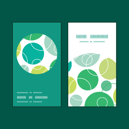 Vector abstract green circles vertical round frame pattern business cards set Vettoriali
