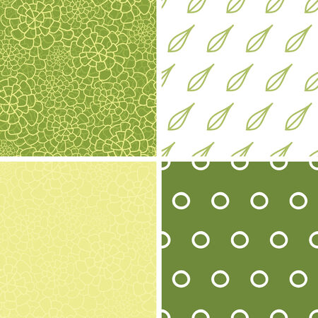 four texture: Vector abstract green natural texture set of four marching repeat patterns backgrounds