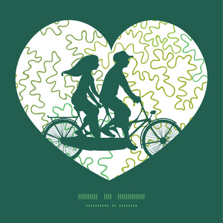 postcard: Vector curly doodle shapes couple on tandem bicycle heart silhouette frame pattern greeting card template