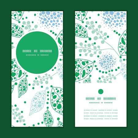 vertical garden: Vector abstract blue and green leaves vertical round frame pattern invitation greeting cards set