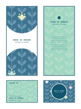 rsvp: Vector blloming vines stripes vertical frame pattern invitation greeting, RSVP and thank you cards set Illustration