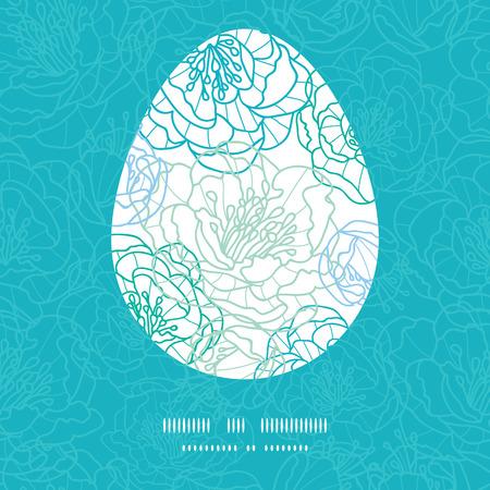 sillhouette: Vector blue line art flowers Easter egg sillhouette frame card template