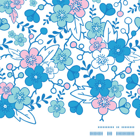 Vector blue and pink kimono blossoms horizontal frame seamless pattern background