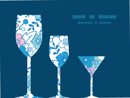 japanese garden: Vector blue and pink kimono blossoms three wine glasses silhouettes pattern frame