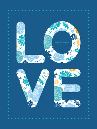 Vector blue and yellow flowersilhouettes love text frame pattern invitation greeting card template Illustration