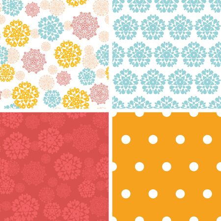 wheal: Vector abstract decorative circles stars set of four marching repeat patterns backgrounds