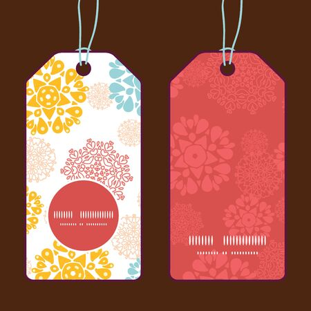 wheal: Vector abstract decorative circles stars vertical round frame pattern tags set Illustration