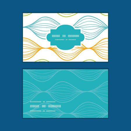 horizontal: Vector colorful horizontal ogee horizontal frame pattern business cards set