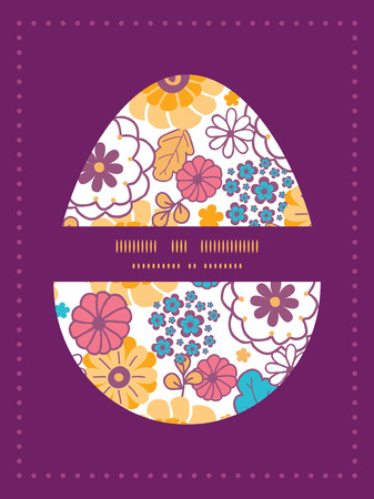 sillhouette: Vector colorful oriental flowers Easter egg sillhouette frame card template