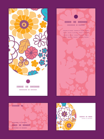 rsvp: Vector colorful oriental flowers vertical frame pattern invitation greeting, RSVP and thank you cards set