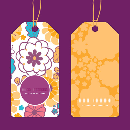 Vector colorful oriental flowers vertical round frame pattern tags set