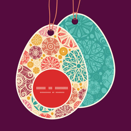 egg shaped: Vector abstract decorative circles Easter egg shaped tags set template Illustration