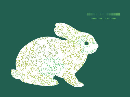 rabbit silhouette: Vector curly doodle shapes bunny rabbit silhouette Easter frame Illustration