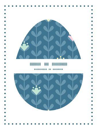 sillhouette: Vector blloming vines stripes Easter egg sillhouette frame card template Illustration