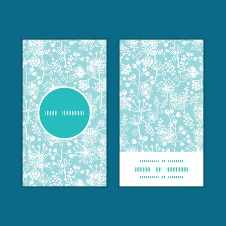 Vector blue and white lace garden plants vertical round frame pattern business cards set