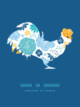chinese astrology: Vector blue and yellow flowersilhouettes rooster silhouette Easter frame