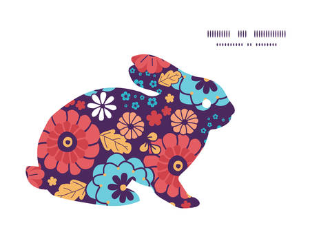 ramo de flores: Vector colorido ramo de flores conejo de conejito silueta del marco de Pascua Vectores