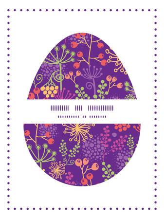 sillhouette: Vector colorful garden plants Easter egg sillhouette frame card template