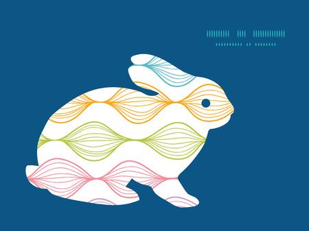 rabbit silhouette: Vector colorful horizontal ogee bunny rabbit silhouette Easter frame Illustration