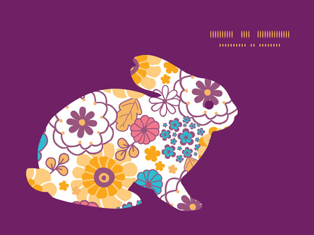 rabbit silhouette: Vector colorful oriental flowers bunny rabbit silhouette Easter frame Illustration