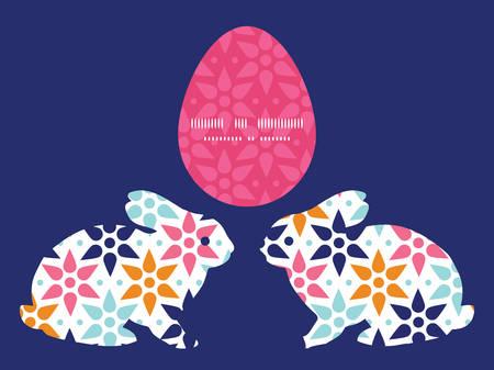 Vector abstract colorful stars bunny rabbit silhouette Easter frame Ilustração
