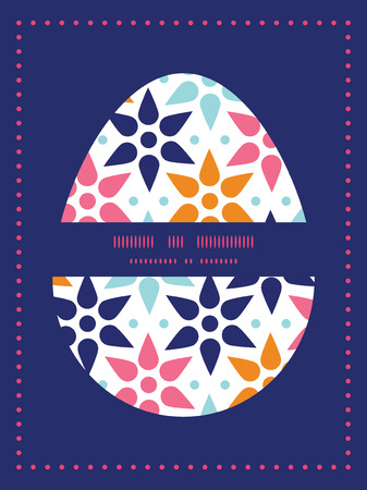 sillhouette: Vector abstract colorful stars Easter egg sillhouette frame card template
