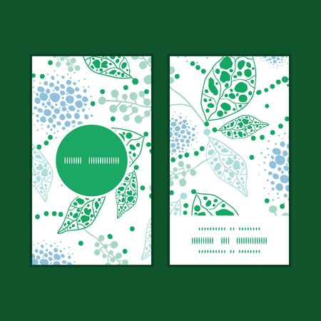 COUPON TEMPLATE: Vector abstract blue and green leaves vertical round frame pattern business cards set Illustration